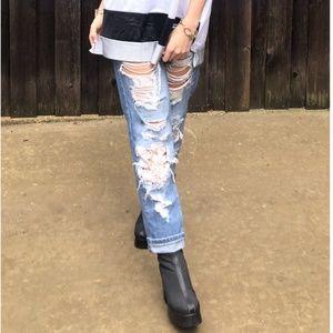 LF Carmar Distressed Cut Out Lace Boyfriend Jeans